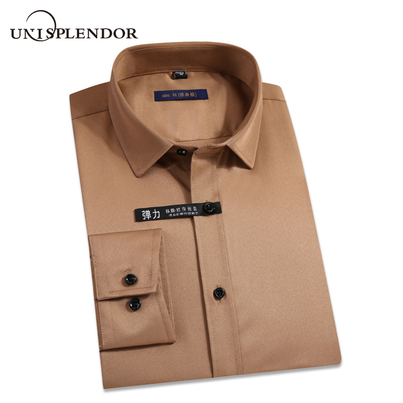 2019 Men Shirts Spring Autumn New Arrival Slim Fit Male Shirt Solid Long Sleeve British Style Cotton Men's Shirt Outwear YN10383