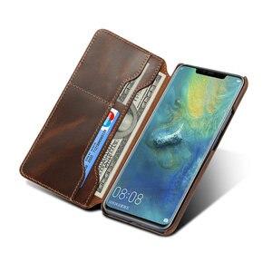 Image 4 - Gerçek deri Huawei Mate 20 Pro Mate20 Funda Huawei Mate 20 Pro kılıf kapak cüzdan Retro Etui Huawei mate 20 Case LYA L29