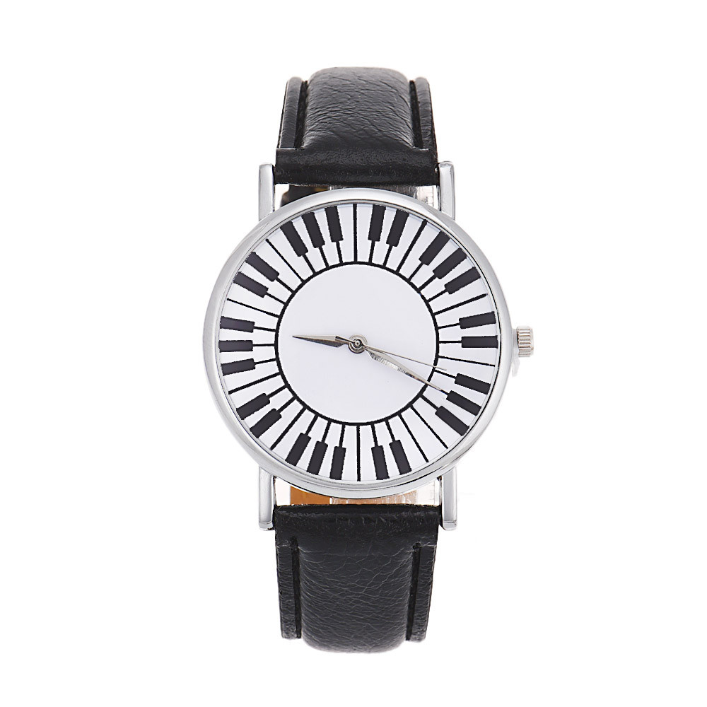 Fashion Ladies Watch Quartz Timer Fresh Piano Keyboard Pattern ...