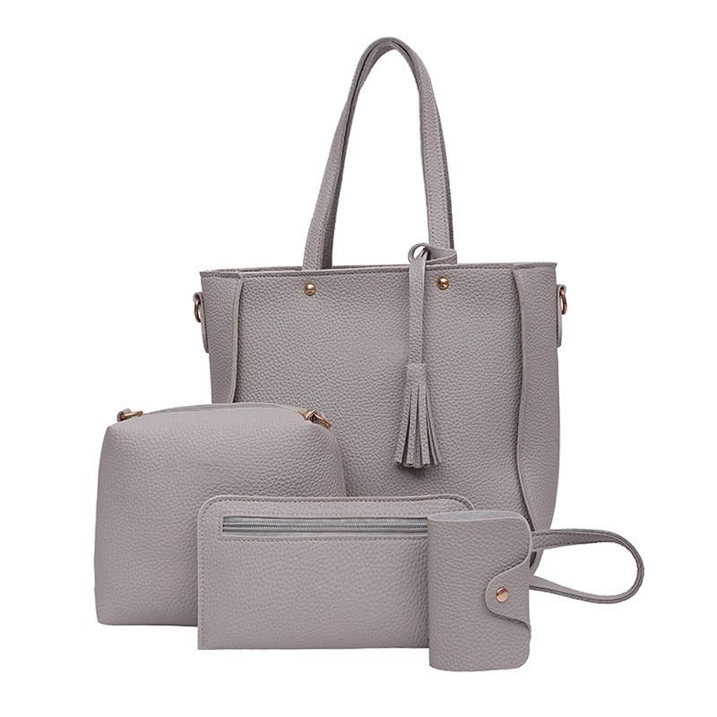 4pcs Set Fashion Women Messenger Bags Zipped Tassels Leather Solid Color Handbag Las S Purse Shoulder Bag L9 In From Luggage