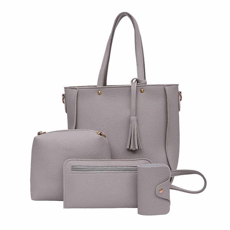 0f7c28112c ... 4Pcs Set Fashion Women Messenger Bags Zipped Tassels Leather Solid Color  Handbag Ladies Girls Purse ...
