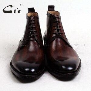Image 3 - Cie/кожаные ботинки до щиколотки с закругленным мысом, 100% натуральная кожа, коричневый с оттенком патины, кожаная подошва ручной работы со шнуровкой, мужские ботинки, A97