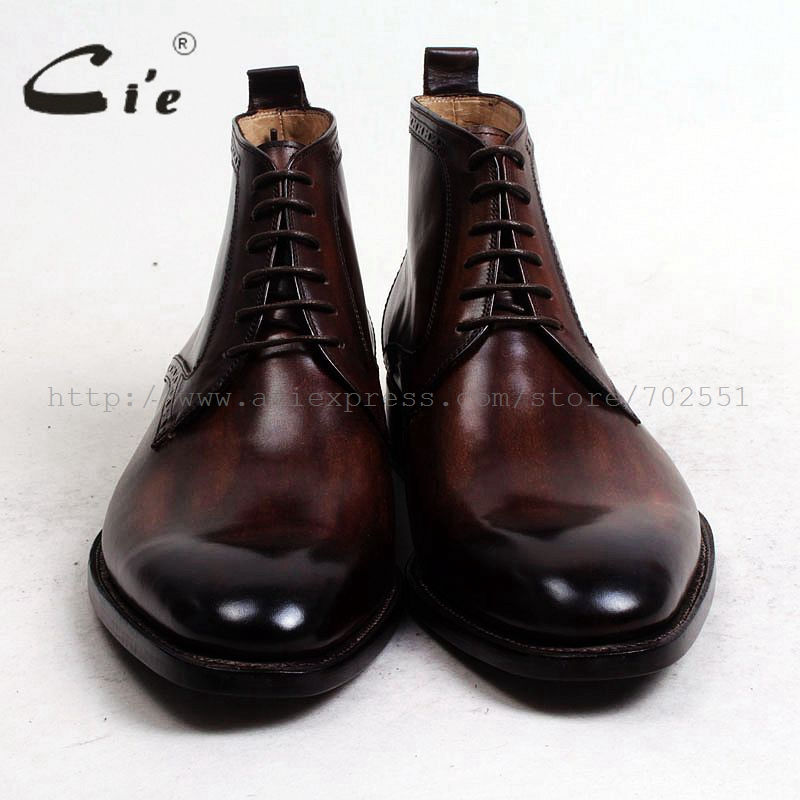 Image 3 - cie round plain toe100%genuine calf leather boot patina brown handmade outsole leather lacing men boot  mens ankle boot  A97boots menboots bootsboots brown -