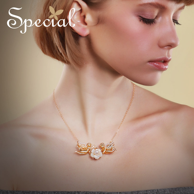 Special occidental flower necklace feminine style pendant neck chain tide clavicle chain angel 39 s kiss S1796N in Choker Necklaces from Jewelry amp Accessories