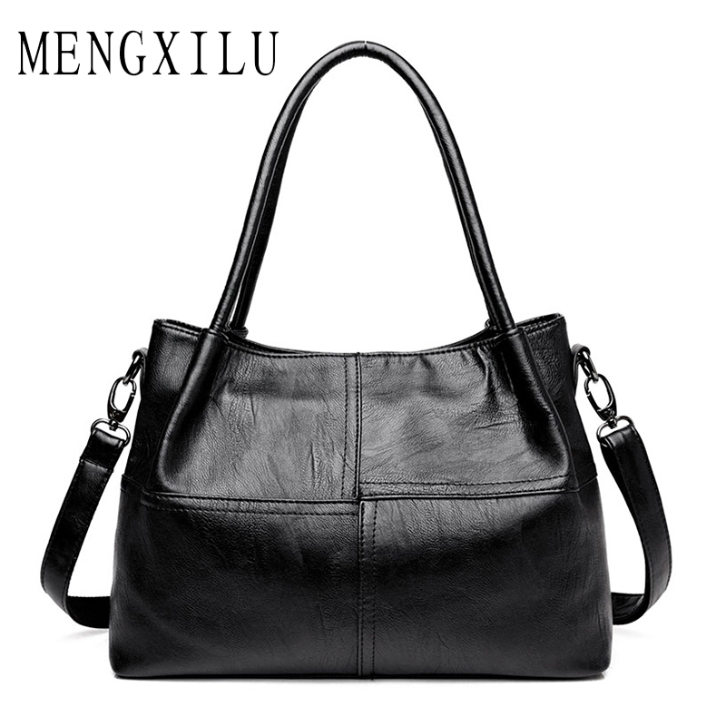 MENGXILU Famous Brand Ladies Hand Bags PU Leather Women Bag Casual Tote Shoulder Bags Fashion Luxury Handbags Large 2018 Sac Hot