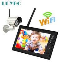 Barato 7 pulgadas 2,4G WiFi sistema de cámara de seguridad cctv Digital inalámbrico Cámara IR al aire libre 4CH LCD DVR monitor de bebé tarjeta sd detección de movimiento