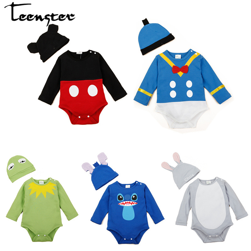 bb13947c3 Newborn Baby Bodysuit&hat Cartoon Duck Mouse Style Funny Infant Clothes  Twins Long Sleeve Baby Boy Costume Toddler Boy Clothes ~ Free Delivery June  2019