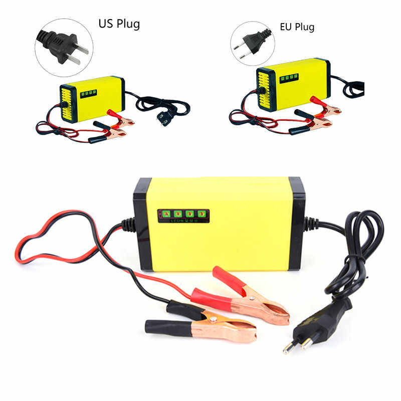 LED Display Motorcycle Auto Smart Battery Charger EU/US Plug Portable 12V Car Battery Charger Adapter Power Supply