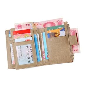 Image 3 - Billetera de cuero de moda para mujer, monedero pequeño, bolsillo para monedas, tarjetero de cuero auténtico