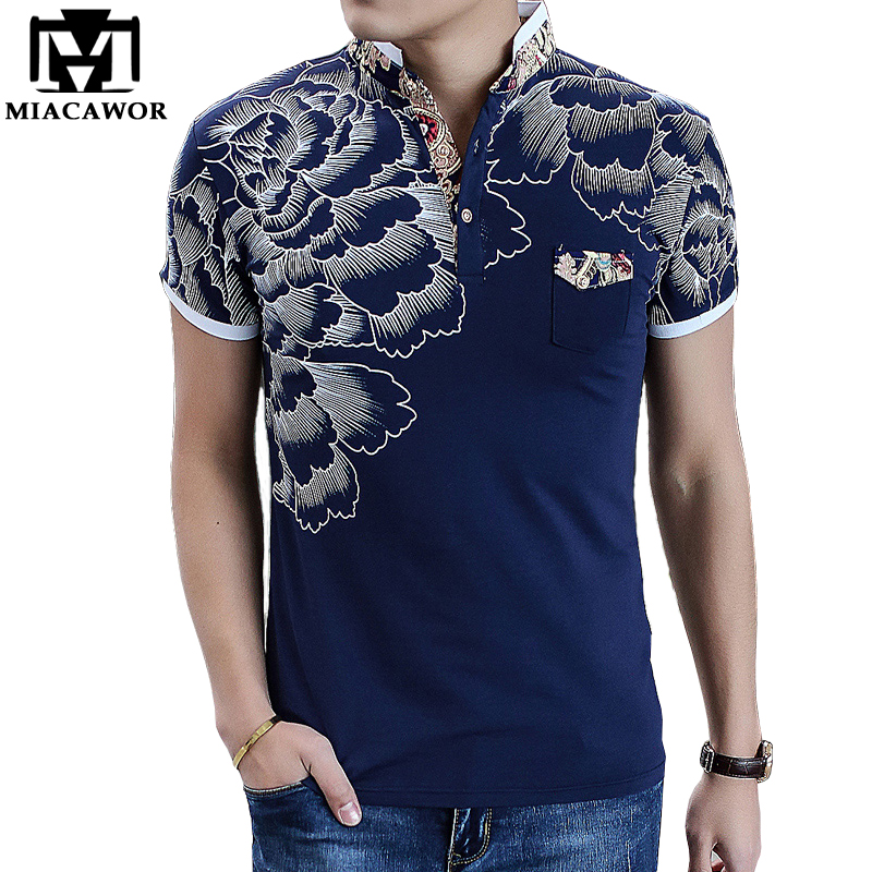 MIACAWOR Men  Polo Shirts Fashion Flower Print  Homme Slim Fit Short-sleeve Camisa  Men Summer Tops Tees MT497