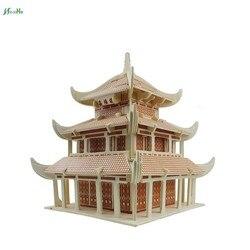 Dzieci drewniane zabawki 3d prezent Puzzle dla dorosłych Handwork montaż gry Woodcraft zestaw konstrukcyjny chiński starożytny Model budowy wieży Yueyang