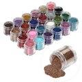 Envío gratis 24 unids/set Nail Art Gel ULTRAVIOLETA de Acrílico del Polvo Del Brillo esmalte de Uñas Kit de Polvo Brillante de Color 3D Decoración Deigin Jumbo tamaño