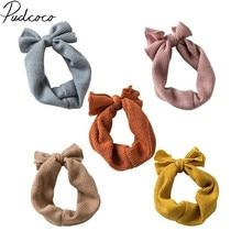Детские аксессуары для маленьких девочек, детский цельный тюрбан с бантиком, повязка на голову, вязаная повязка на голову с кроликом,, подарок