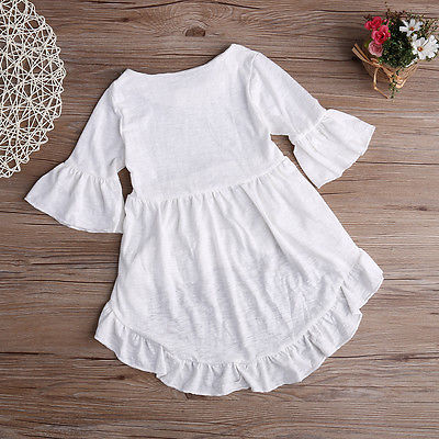 c4d16d4334632 US $4.39 24% OFF|1pcs New Kids Baby Girls Pretty Elegant Solid Princess  Outfits Top Asymmetric Dress Clothes 1 6Y-in Dresses from Mother & Kids on  ...