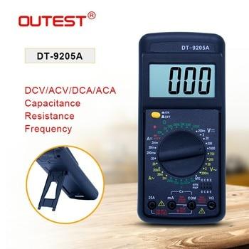 DT9205A OUTEST Multímetro Digital AC DC Display LCD hot vender Digital Voltímetro Amperímetro Multimetro Handheld Tester Medidor