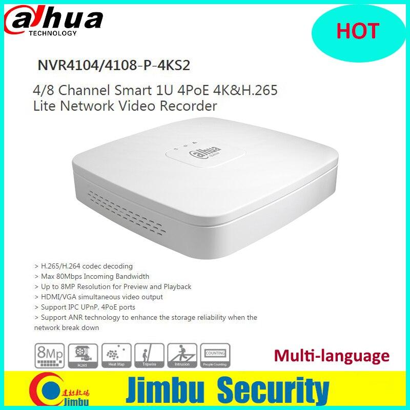 Dahua NVR 4 K H.265 Video Recorder NVR4104-P-4KS2 NVR4108-P-4KS2 4Ch 8Ch 4 Porte PoE Rete Fino a 8MP Risoluzione metallo corpo