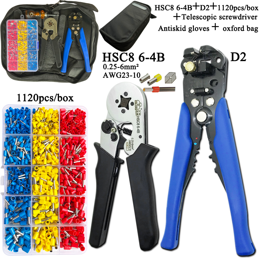 Image 5 -   Electrician Pliers Junction Box Mini Pliers Tool Kit HSC8 6 4 0.25 6mm2 23 10AWG Crimping Wire Stripping:10 24awg 0.2 6.0mm2Pliers   -