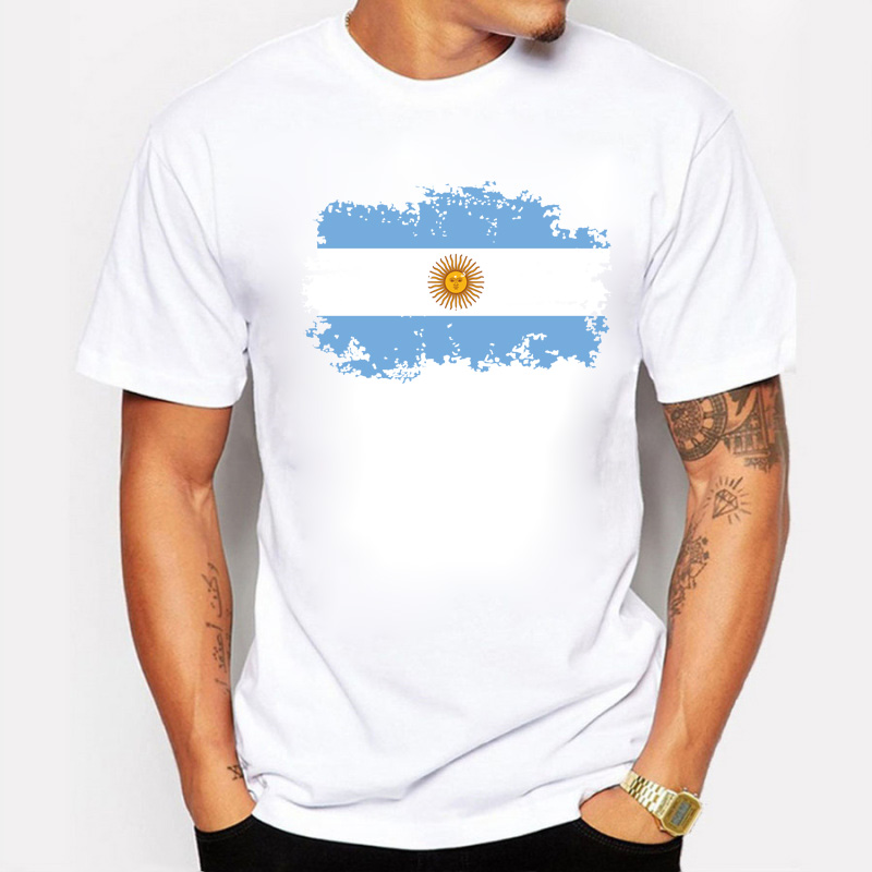 Argentina National Flag Tee Shirts Short T-shirts Nostalgic Style Summer Star Players Maradona Messi Fans Cheer Tshirts For Men