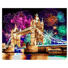 Living Room Decoration,Paintings By Numbers On Canvas,Fireworks Bridge,Canvas Pictures For