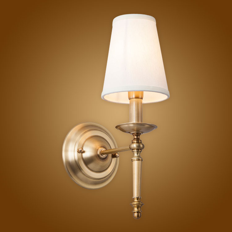 Modern Wall Lamp Real Copper Wall Sconces Fabric Lampshade