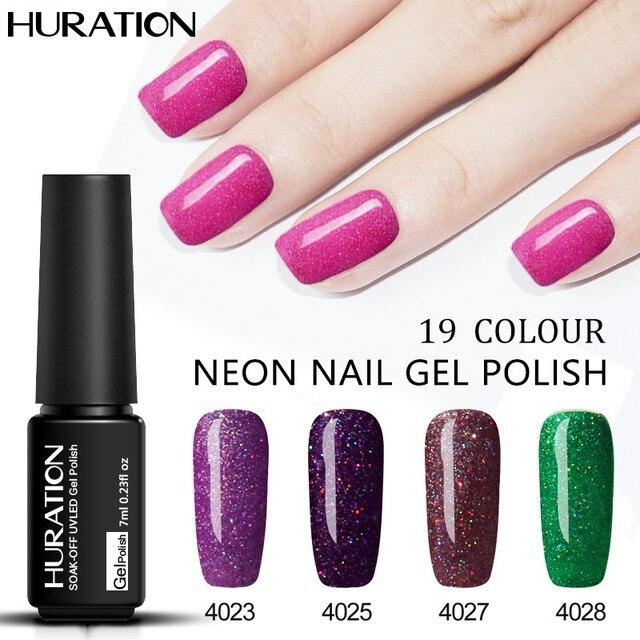 Huration Professionele Merk 7 Ml Neon Rainbow Shimmer Nail Art Gel