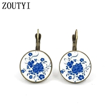 New / Classic Mandala Flower Earrings Om Buddhist Symbol Zen Glass Bevel Retro Silver Jewelry Female Earrings