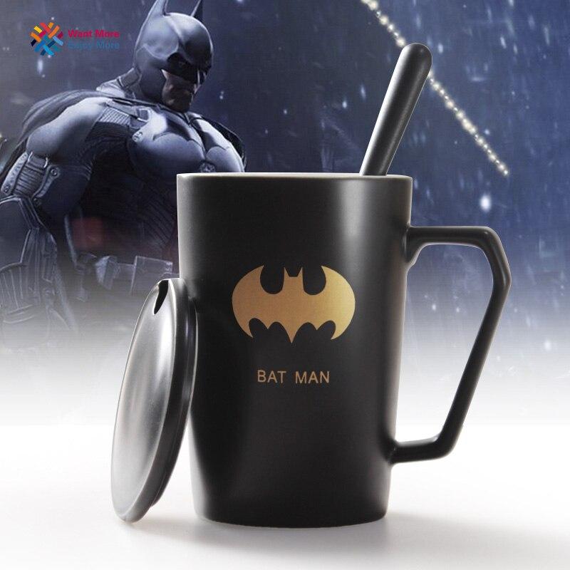 New Avengers Ceramic Coffee Mug with Cover Creative Hero Lovers Cup Spoon
