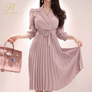 Image 2 - H Han Queen Womens 2019 New Notched Neck Pleated Dress Draped Lace Up Bow A line Dresses OL Elegant Work Wear Business Vestidos