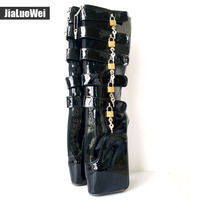 Jialuowei Brand New Ballet Boots 18cm 7 Super High Heel Fashion Sexy Fetish Wedges Zip Buckle
