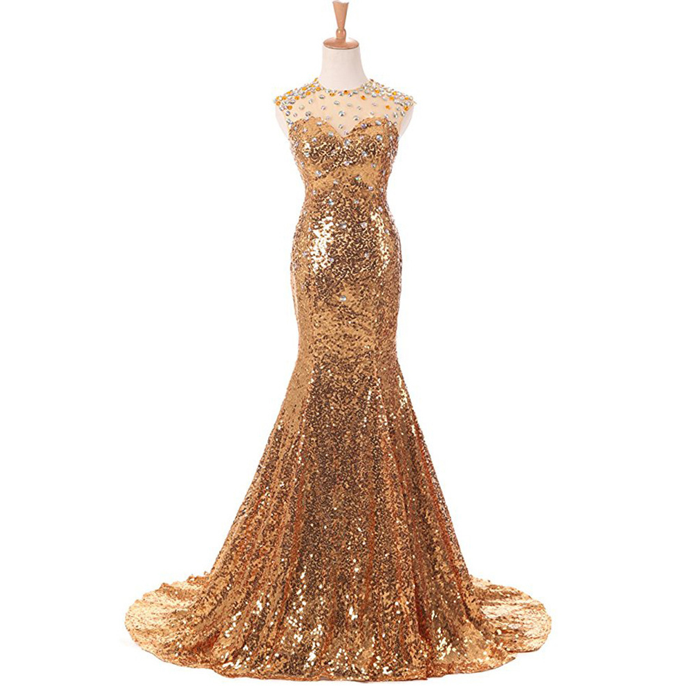 Plus Size Sequins Beading   Evening     Dress   Noble Gold Long Mermaid Formal Prom Gowns Party   Dresses   Sleeveless Robe De Soiree