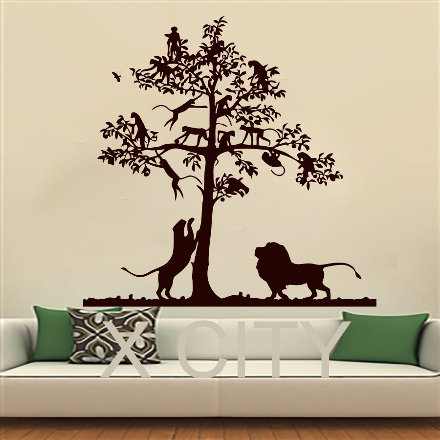 compare prices on tree wall stencil online shopping buy low price wall decals lion tree monkey safari landscape children vinyl sticker boy girl nursery bedroom home decor