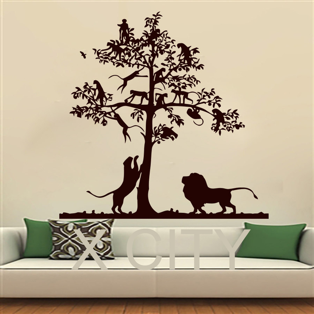 Wall Decals Lion Tree Monkey Safari Landscape Children
