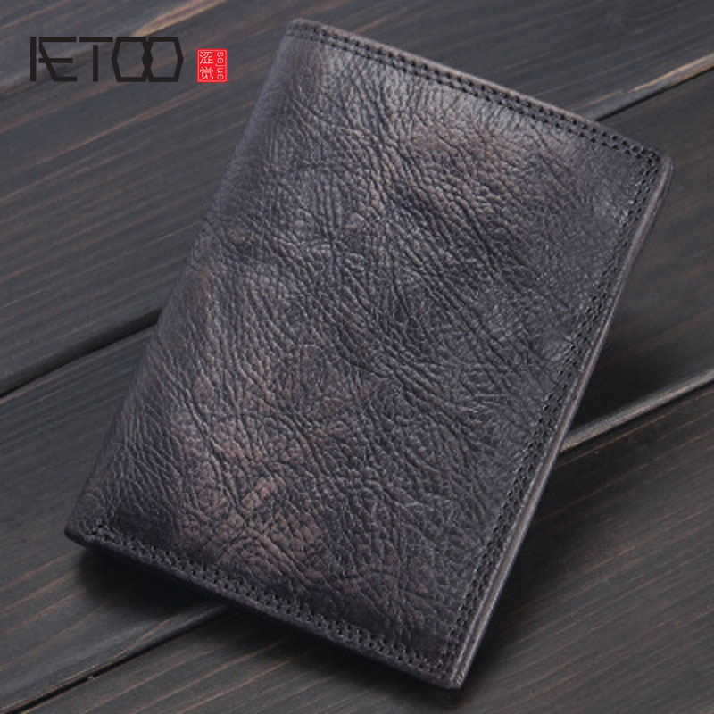 AETOO Original mens handmade retro leather wallet first layer of leather minimalist section of the young multi-card wallet