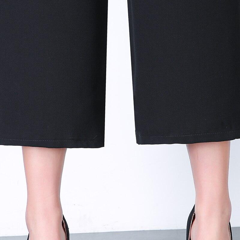 Ladies Office Pants Fashion Loose Long Wide Leg High Waist Plus Size L-4XL Trousers Women Casual Classic Chiffon Pocket Pants