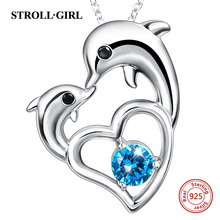 Strollgirl Authentic 925 sterling silver Cute Animal Dolphin Heart Necklaces Authentic Women Sterling Silver Jewelry strollgirl authentic 925 sterling silver infinite heart shape ring adjustable open rings luxury sterling silver jewelry 2019