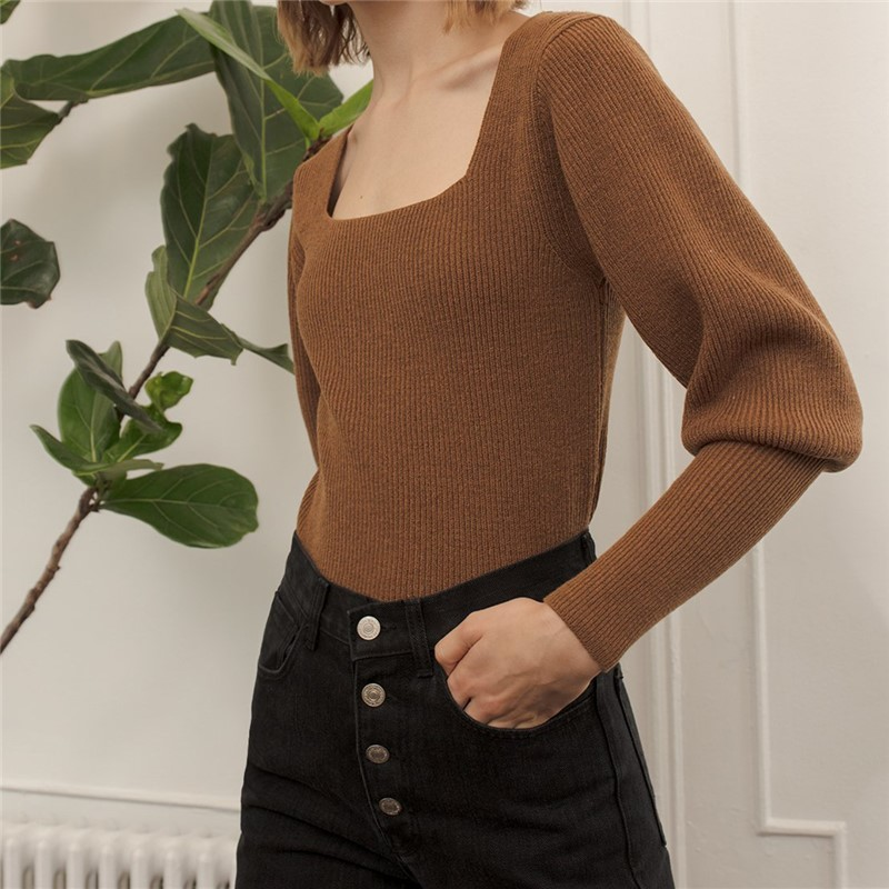 Autumn Fashion Cute Slim Solid Color Square Neck Long Sleeve SML XL 3 Colors Woman Casual Short Skinny Knitwear Lady Pullovers