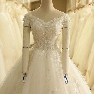 Image 4 - SL 9012 Vintage Off the Shoulder Wedding Dress Lace Up Back Applique Bridal Ball Gowns 2018
