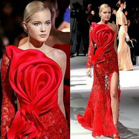 2019 Long Sleeves Lace Side Slit Evening Party Dresses One Shoulder Rose Flower Red Carpet Celebrity Prom Gowns for Women Wear