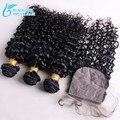 7A Grade Deep Curly Brazilian Hair Silk Base Closure With Bundles,100%Brazilian Virgin Hair With Silk Base Closure