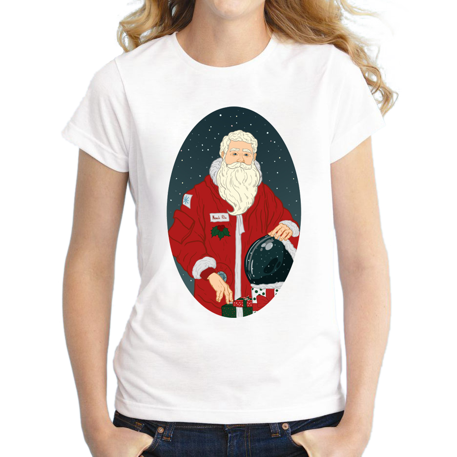 2018 Funny Women Santa Swimmer/ Fireman/ Astronaut T Shirts Christmas Tops Novelty Fashion T-Shirt Short Sleeve Printing Tee