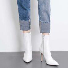Женские ботинки из ПУ кожи на молнии высоком каблуке