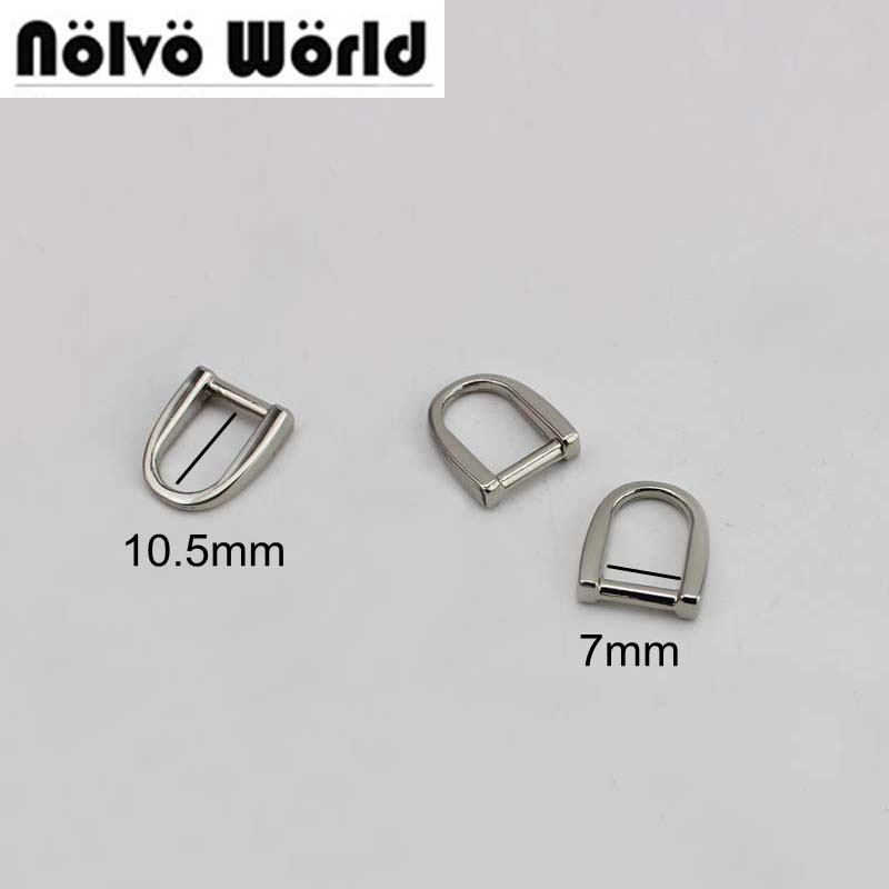 100pcs 7X10.5mm Polished Silver Welded Arch Ring Zipper Slider Hanger,DIY Purse Bag Belt Handbag Zip D Shaped Ring Connector