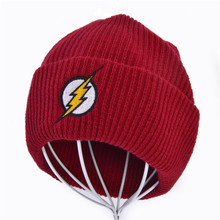 Men Women Winter Hat Beanies Skullies Knitted Flash Hero Barry Allen Embroid Knitting Warm Hip-Hop Cap Christmas Gift