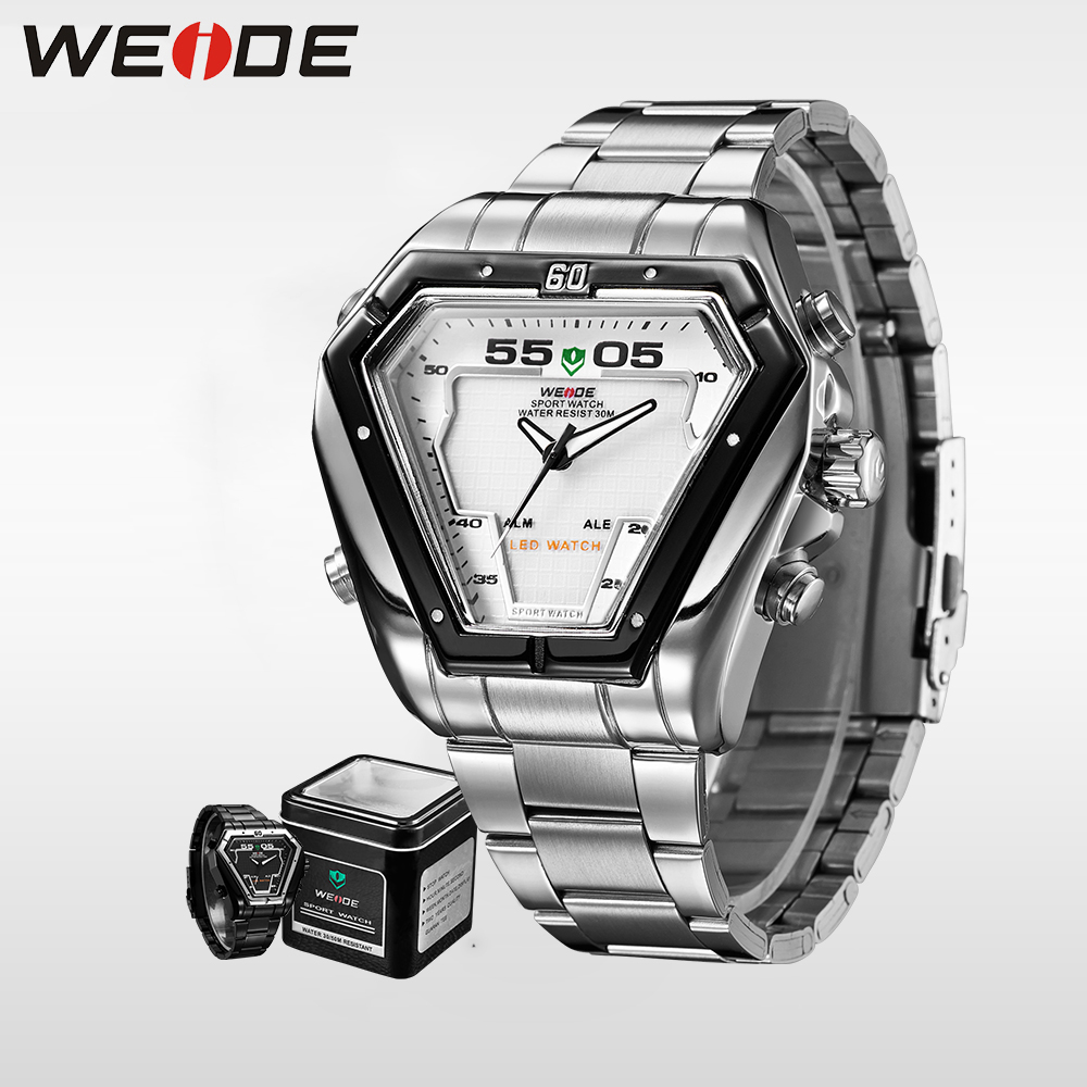 Weide analong business fashion casual white clock brand luxury men watch quartz contracted watch srainless steel bracelets 21mm weide luxury business men watch stainless steel date digital led metal clock bracelets sport quartz contracted in quartz watches