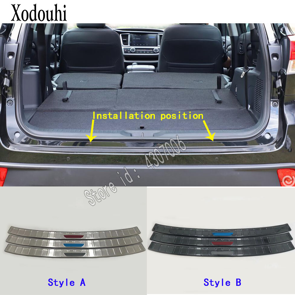 For Toyota Highlander 2018 2019 car Stainless steel Back Rear Pedal Door Scuff Plate outside Threshold Trunk 1pcs