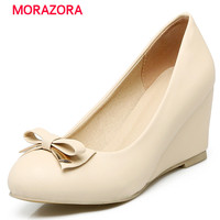 MORAZORA Two types high heel shallow wedges shoes big size 32 43 women pumps sweet solid bowtie party shoes pu