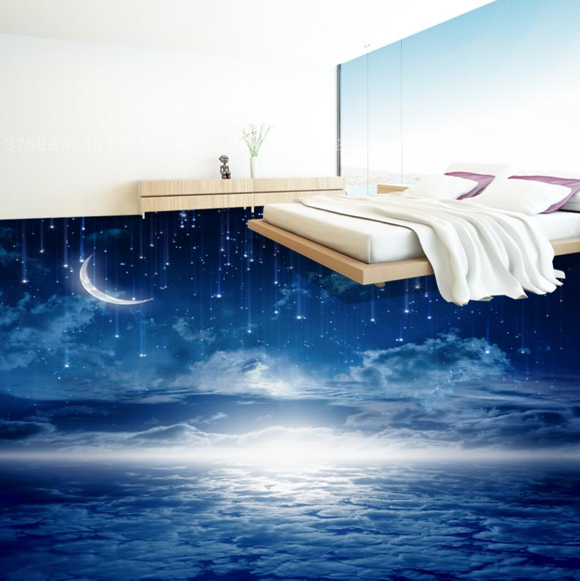 Romantic Night Sky 3D Flooring Wall papers Home Decor Vinyl Flooring Wallpapers For Living room Bedroom Self Adhesive Wallpaper 3d ceiling murals wallpaper blue sky and white clouds living room bedroom sky ceiling mural wall papers home decor