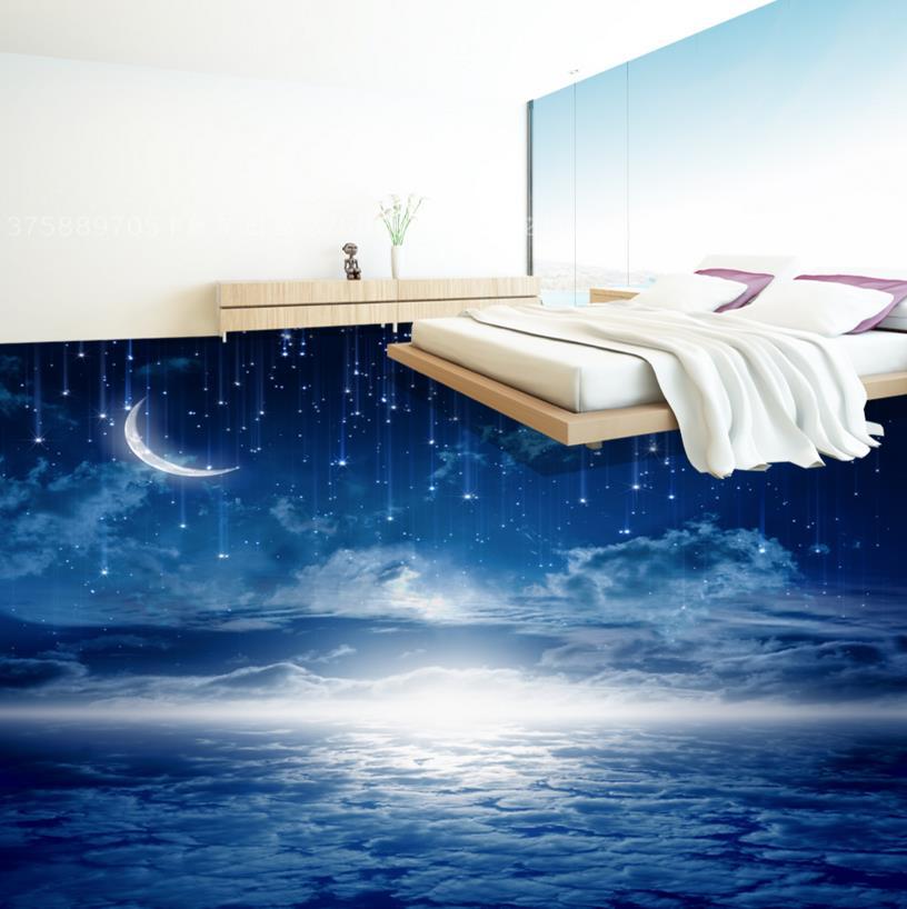 Romantic Night Sky 3D Flooring Wall papers Home Decor Vinyl Flooring Wallpapers For Living room Bedroom Self Adhesive Wallpaper зенитный прожектор night sun sf011 sky rose купить