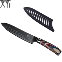 6 inch Chef Kitchen Knives XYj Color Wood Handle Damascus Steel Knife Handmade VG10 Core Sharp Blade Damascus Knife + Free Cover