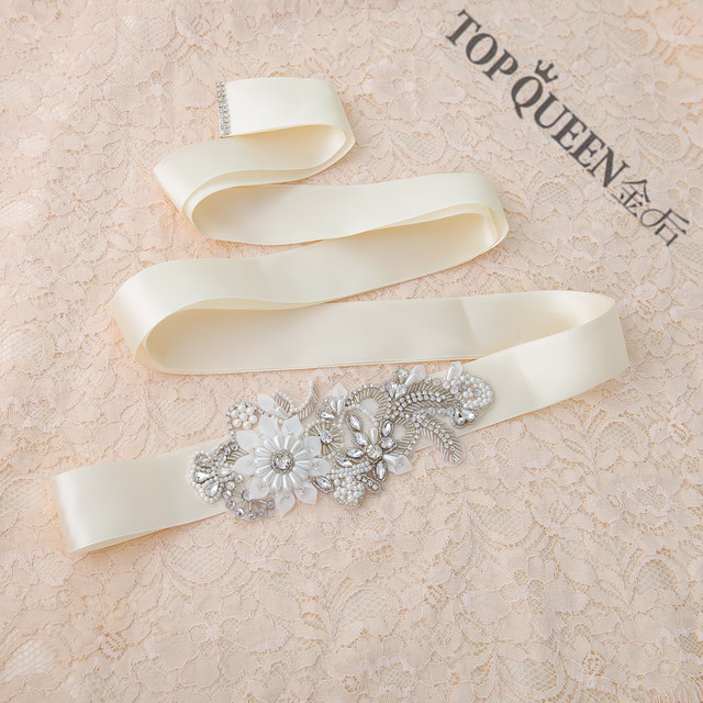 TOPQUEEN S281 Free shipping STOCK Rhinestones Pearls Wedding Belts,Bridal Belts sashes,Bridal Wedding sashes Belts
